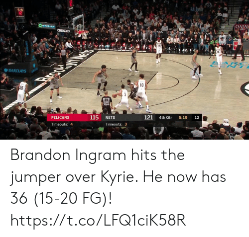 kyrie: S 19  12  BEYOND MEAT  OATA  AIRW  GEICO  DA  EON DA  11  14  ARC  ENT  BARCLAYS  BANCLAYS  Brpc  10  55  3  39  121  115  PELICANS  NETS  4th Qtr  5:19  12  Timeouts: 4  Timeouts: 3 Brandon Ingram hits the jumper over Kyrie. He now has 36 (15-20 FG)!  https://t.co/LFQ1ciK58R