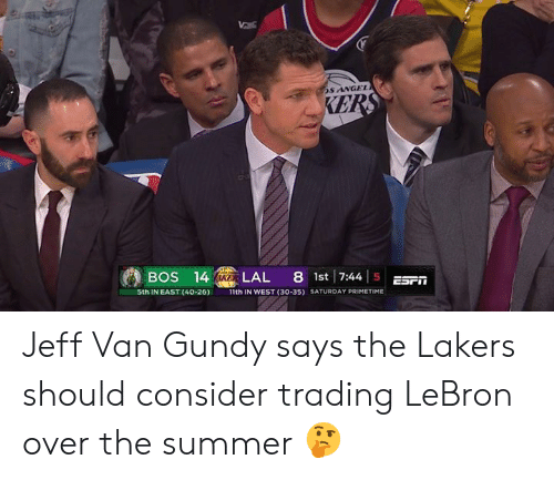 Los Angeles Lakers, Summer, and Angel: S ANGEL  BOS 14LAL 8st 744 5ESF  5th IN EAST (40-26)  1th IN WEST (30-35)  SATURDAY PRIMETIME Jeff Van Gundy says the Lakers should consider trading LeBron over the summer 🤔