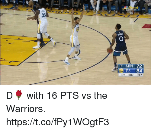 Memes, Warriors, and 🤖: S CHAS  BAY AREAc  23  MIN 72  GS 84  3rd 8:02 :17 D🌹 with 16 PTS vs the Warriors.   https://t.co/fPy1WOgtF3