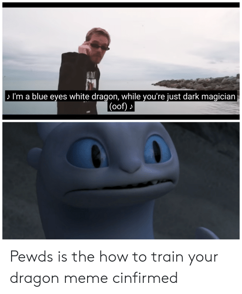 Meme, Blue, and How To: S I'm a blue eyes white dragon, while you're just dark magician  (oof) Pewds is the how to train your dragon meme cinfirmed