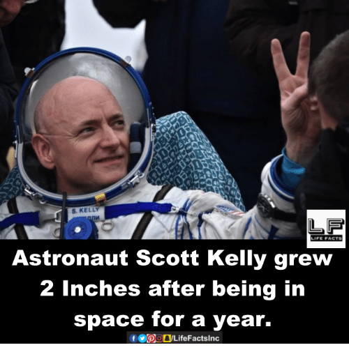kelli: S. KELLY  LIFE FACTS  Astronaut Scott Kelly grew  2 inches after being in  space for a year.