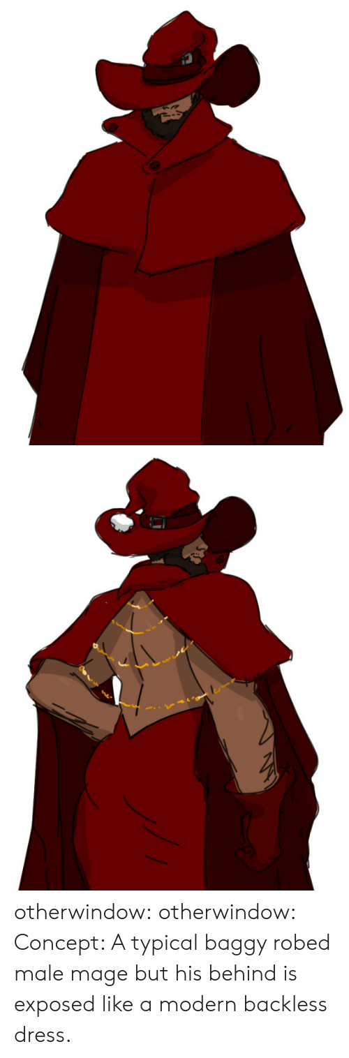 male: S otherwindow:  otherwindow:  Concept: A typical baggy robed male mage but his behind is exposed like a modern backless dress.