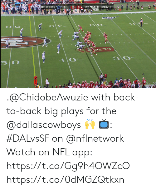 Back to Back: S01ST 2:12  :11  O5 SPORTS  3RD & 11 .@ChidobeAwuzie with back-to-back big plays for the @dallascowboys 🙌  📺: #DALvsSF on @nflnetwork Watch on NFL app: https://t.co/Gg9h4OWZcO https://t.co/0dMGZQtkxn