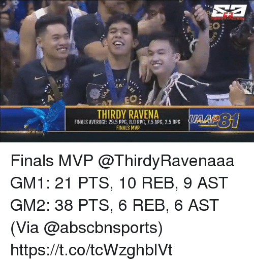 Finals, Memes, and 🤖: Sa  o:  EA  THIRDY RAVENA  FINALS AVERAGE: 29.5 PPG, 8.0 RPG, 7.5 APG, 2.5 BPG  FINALS MVP Finals MVP @ThirdyRavenaaa   GM1: 21 PTS, 10 REB, 9 AST GM2: 38 PTS, 6 REB, 6 AST  (Via @abscbnsports)    https://t.co/tcWzghblVt