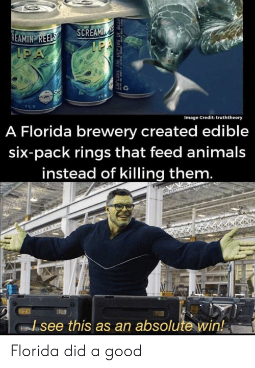 Animals, Florida, and Good: SA  REAMIN REELS  IPA  SCREAMIN  IEA  SAL  A Florida brewery created edible  Image Credit: truththeory  six-pack rings that feed animals  instead of killing them.  see this as an absolute win!  EAPLORE THE DEPTHS OF DLL Florida did a good
