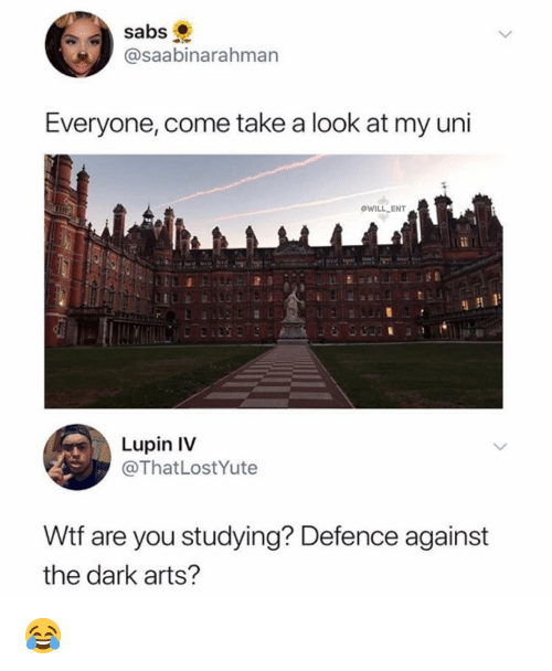 Memes, Wtf, and Arts: @saabinarahman  Everyone, come take a look at my uni  WILL ENT  Lupin IV  @ThatLostYute  Wtf are you studying? Defence against  the dark arts? 😂