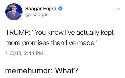 "Tumblr, Blog, and Http: Saagar Enjeti  @esaagar  TRUMP: ""You know l've actually kept  more promises than I've made""  11/5/18, 2:44 PM memehumor:  What?"