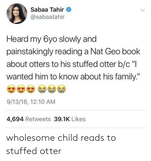 """Otters: Sabaa Tahir  @sabaatahir  Heard my 6yo slowly and  painstakingly reading a Nat Geo book  about otters to his stuffed otter b/c""""l  wanted him to know about his family:""""  9/13/18, 12:10 AM  4,694 Retweets 39.1K Likes wholesome child reads to stuffed otter"""