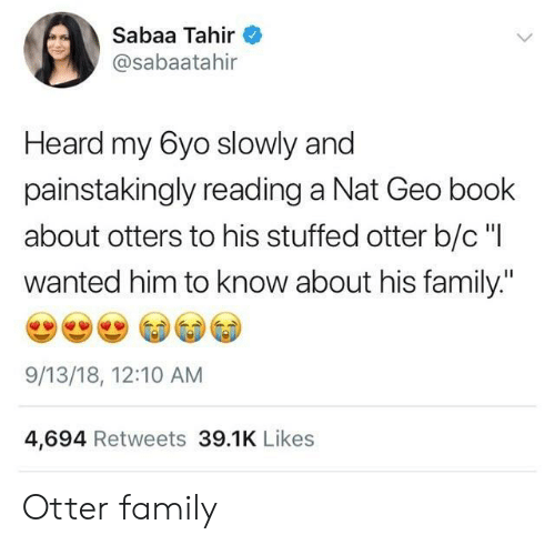 """nat: Sabaa Tahir  @sabaatahir  Heard my 6yo slowly and  painstakingly reading a Nat Geo book  about otters to his stuffed otter b/c """"I  wanted him to know about his family.""""  9/13/18, 12:10 AM  4,694 Retweets 39.1K Likes Otter family"""