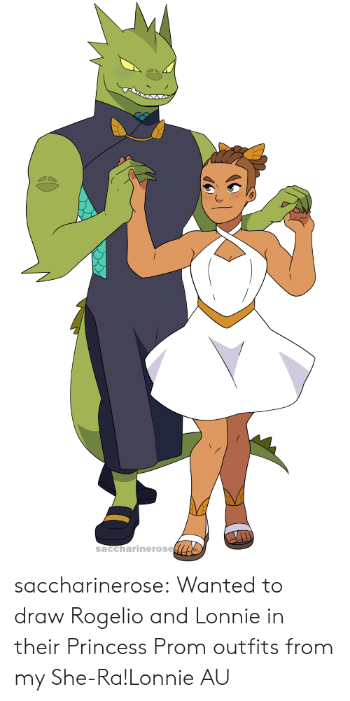 Tumblr, Blog, and Princess: saccharinerose saccharinerose:  Wanted to draw Rogelio and Lonnie in their Princess Prom outfits from my She-Ra!Lonnie AU