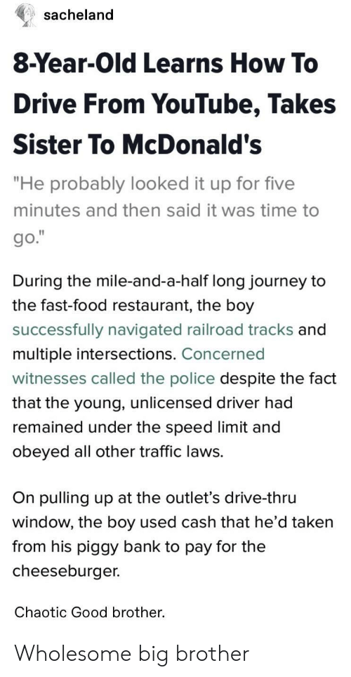 """Big Brother: sacheland  8-Year-Old Learns How To  Drive From YouTube, Takes  Sister To McDonald's  """"He probably looked it up for five  minutes and then said it was time to  During the mile-and-a-half long journey to  the fast-food restaurant, the boy  successfully navigated railroad tracks and  multiple intersections. Concerned  witnesses called the police despite the fact  that the young, unlicensed driver had  remained under the speed limit and  obeyed all other traffic laws.  On pulling up at the outlet's drive-thru  window, the boy used cash that he d taken  from his piggy bank to pay for the  cheeseburger.  Chaotic Good brother. Wholesome big brother"""