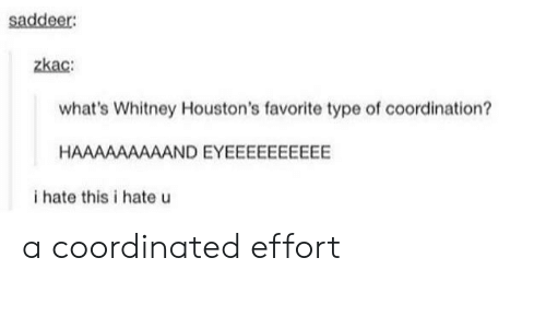 Whitney, Whats, and This: saddeer:  zkac  what's Whitney Houston's favorite type of coordination?  HAAAAAAAAAND EYEEEEEEEEEE  i hate this i hate u a coordinated effort