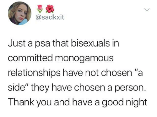 """Dank, Relationships, and Thank You: @sadkxit  Just a psa that bisexuals in  committed monogamous  relationships have not chosen""""a  side"""" they have chosen a person.  Thank you and have a good night"""