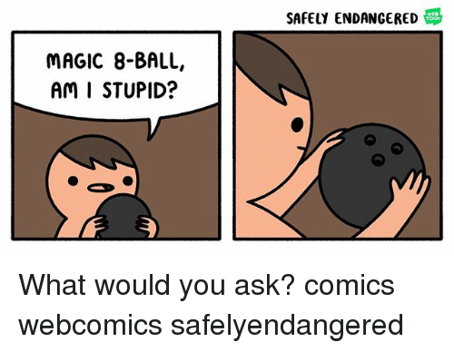 Memes, Magic, and Webcomics: SAFELY ENDANGERED  MAGIC 8-BALL,  AM I STUPID? What would you ask? comics webcomics safelyendangered