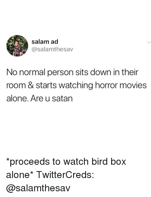 Being Alone, Funny, and Movies: salam ad  @salamthesav  No normal person sits down in their  room & starts watching horror movies  alone. Are u satarn *proceeds to watch bird box alone* TwitterCreds: @salamthesav
