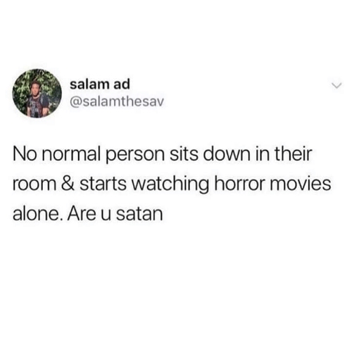 Horror Movies: salam ad  @salamthesav  No normal person sits down in their  room & starts watching horror movies  alone. Are u satan