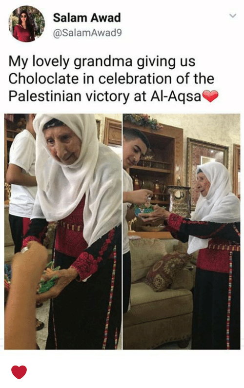 Grandma, Memes, and 🤖: Salam Awad  @SalamAwad9  My lovely grandma giving us  Choloclate in celebration of the  Palestinian victory at Al-Aqsa ❤️