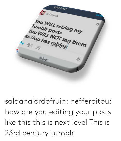 Posts: saldanalordofruin: nefferpitou: how are you editing your posts like this this is next level  This is 23rd century tumblr