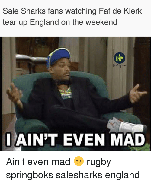 England, Memes, and Sharks: Sale Sharks fans watching Faf de Klerk  tear up England on the weekend  RUGBY  MEMES  nstaa iaum  AIN'T EVEN MAD Ain't even mad 😕 rugby springboks salesharks england