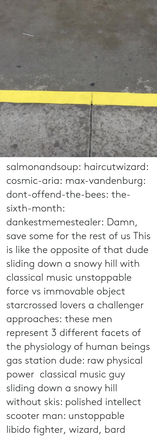 skis: salmonandsoup: haircutwizard:  cosmic-aria:  max-vandenburg:  dont-offend-the-bees:  the-sixth-month:  dankestmemestealer: Damn, save some for the rest of us This is like the opposite of that dude sliding down a snowy hill with classical music  unstoppable force vs immovable object  starcrossed lovers  a challenger approaches:  these men represent 3 different facets of the physiology of human beings gas station dude: raw physical power  classical music guy sliding down a snowy hill without skis: polished intellect scooter man: unstoppable libido  fighter, wizard, bard