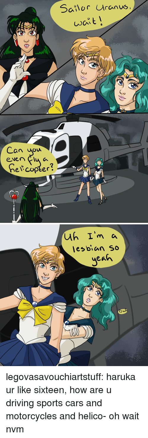 Cars, Driving, and Sports: Salor uranus  Can uow  even Clu a  2  elcopter!   lesbian so legovasavouchiartstuff:  haruka ur like sixteen, how are u driving sports cars and motorcycles and helico- oh wait nvm