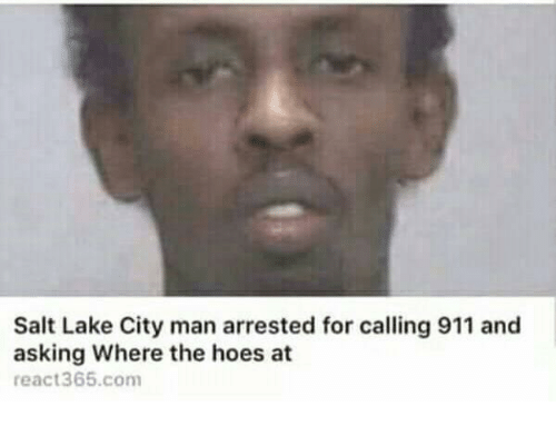 Hoes At: Salt Lake City man arrested for calling 911 and  asking Where the hoes at  react365.com