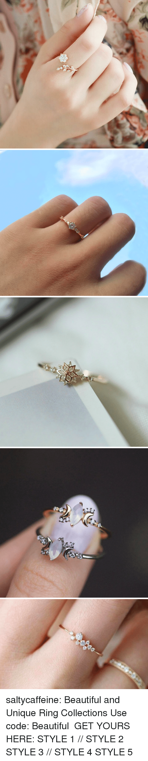 Beautiful, Target, and Tumblr: saltycaffeine: Beautiful and Unique Ring Collections Use code: Beautiful GET YOURS HERE:  STYLE 1 // STYLE 2  STYLE 3 // STYLE 4  STYLE 5