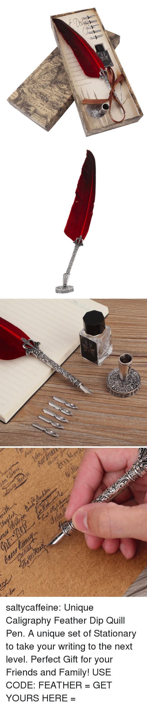 Family, Friends, and Target: saltycaffeine: Unique Caligraphy Feather Dip Quill Pen. A unique set of Stationary to take your writing to the next level. Perfect Gift for your Friends and Family! USE CODE: FEATHER = GET YOURS HERE =