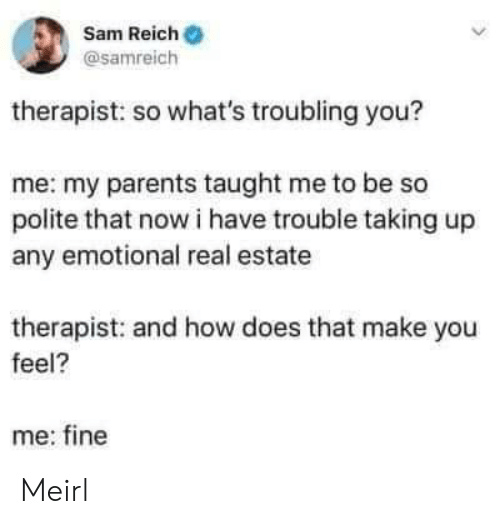 Parents, Real Estate, and MeIRL: Sam Reich  @samreich  therapist: so what's troubling you?  me: my parents taught me to be so  polite that now i have trouble taking up  any emotional real estate  therapist: and how does that make you  feel?  me: fine Meirl
