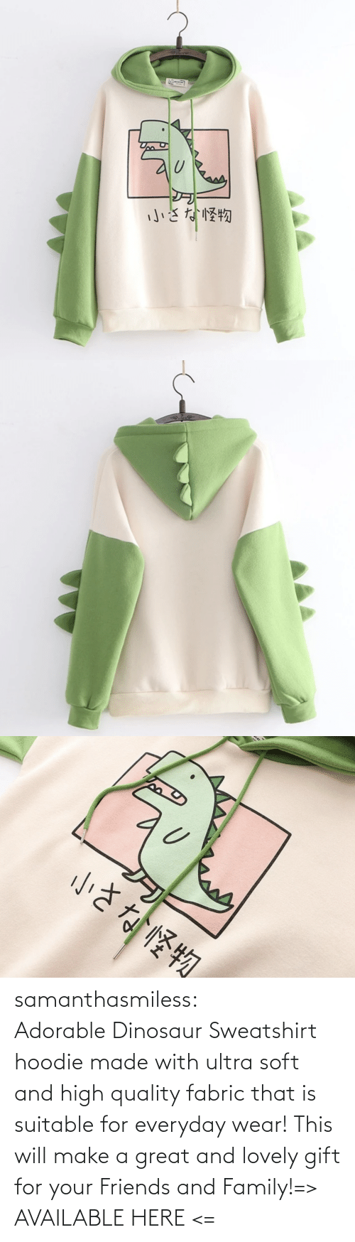 Ultra: samanthasmiless:  Adorable Dinosaur Sweatshirt hoodie made with ultra soft and high quality fabric that is suitable for everyday wear! This will make a great and lovely gift for your Friends and Family!=> AVAILABLE HERE <=