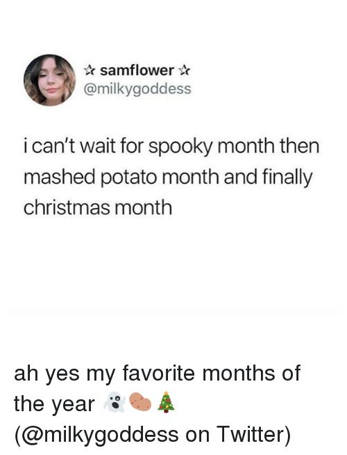 Christmas, Memes, and Twitter: samflower  @milkygoddess  i can't wait for spooky month then  mashed potato month and finally  christmas month ah yes my favorite months of the year 👻🥔🎄 (@milkygoddess on Twitter)