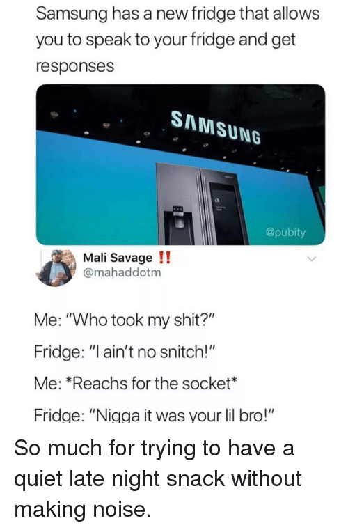 "Memes, Savage, and Shit: Samsung has a new fridge that allows  you to speak to your fridge and get  responses  SNNMSUNG  @pubity  Mali Savage !!  @mahaddotm  Me: ""Who took my shit?""  Fridge: ""l ain't no snitch!""  Me: *Reachs for the socket*  Fridge: ""Nigga it was your lil bro!"" So much for trying to have a quiet late night snack without making noise."