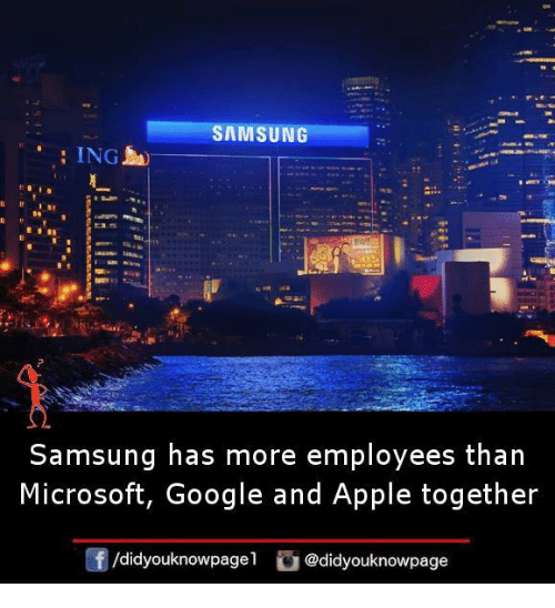 Apple, Google, and Memes: SAMSUNG  : ING  Samsung has more employees than  Microsoft, Google and Apple together  囝/didyouknowpagel  G@didyouknowpage