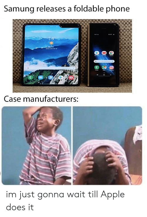 Apple, Phone, and Case: Samung releases a foldable phone  Case manufacturers: im just gonna wait till Apple does it