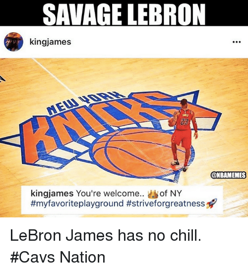 Cavs, Chill, and LeBron James: SANAGE LEBRON  kingjames  23  @NBAMEMES  kingjames You're welcome.. of NY  LeBron James has no chill. #Cavs Nation