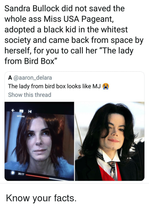 """Ass, Facts, and Memes: Sandra Bullock did not saved the  whole ass Miss USA Pageant,  adopted a black kid in the whitest  society and came back from space by  herself, for you to call her """"The lady  from Bird Box""""  A @aaron_delara  The lady from bird box looks like MJA  Show this thread  35:17 Know your facts."""
