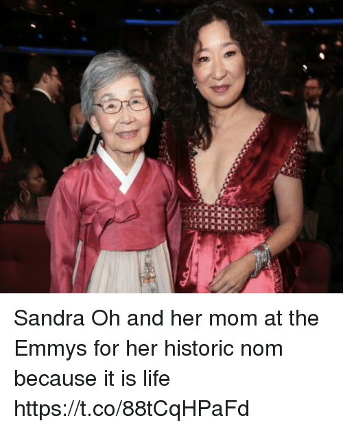 sandra oh: Sandra Oh and her mom at the Emmys for her historic nom because it is life https://t.co/88tCqHPaFd