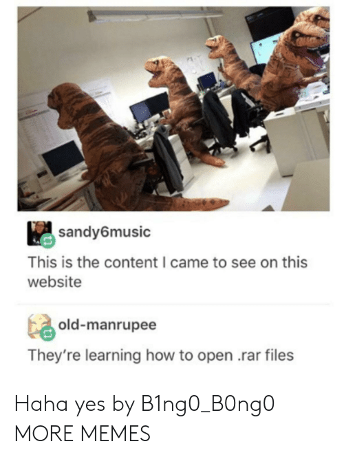 Dank, Memes, and Target: sandy6music  This is the content I came to see on this  website  ta, old-manrupee  They're learning how to open .rar files Haha yes by B1ng0_B0ng0 MORE MEMES