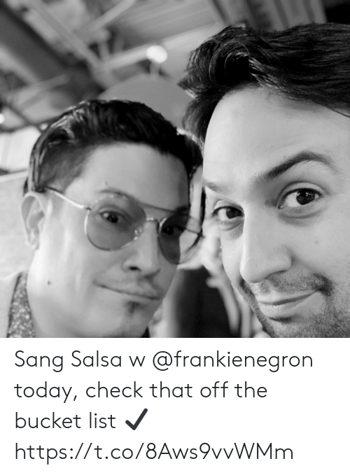 Bucket list: Sang Salsa w @frankienegron today, check that off the bucket list ✔️ https://t.co/8Aws9vvWMm