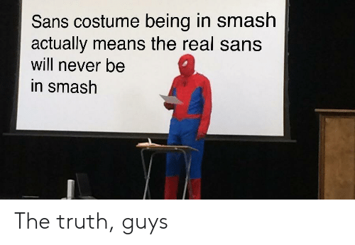 Smashing, Smash Bros, and The Real: Sans costume being in smash  actually means the real sans  will never be  in smash The truth, guys
