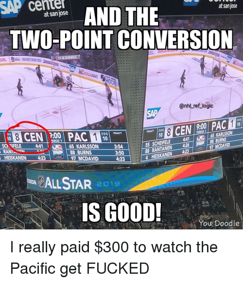 sap: SAP cente  AND THE  at sanjose  at san jose  TWO-POINT CONVERSION  @nhl ref logic  SAP  50G  9:00  :00  SOGİ PENALTY  PENALTY İSOG  ERIOD  65 KARLSSON  55 SCHEIFELE 4  88 RANTANEN 4268BURNS  4 HEISKANEN 4:237 MCDAVID  SCh FIFELE 4:41  AN  HEISKANEN 4:23  65 KARLSSON  88 BURNS  3:54  3:50  4:23  97 MCDAVID  LSTAR 1  S GOOD!  You Doodle I really paid $300 to watch the Pacific get FUCKED