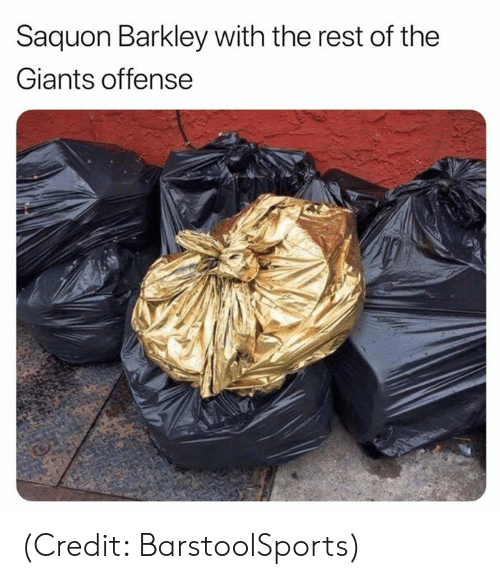 Nfl, Giants, and Rest: Saquon Barkley with the rest of the  Giants offense (Credit: BarstoolSports)