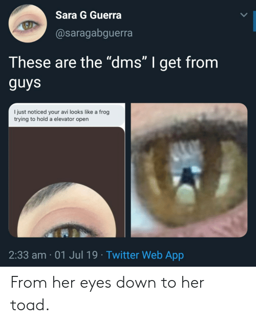 """Twitter, Her, and App: Sara G Guerra  @saragabguerra  These are the """"dms"""" I get from  guys  I just noticed your avi looks like a frog  trying to hold a elevator open  2:33 am 01 Jul 19 Twitter Web App From her eyes down to her toad."""