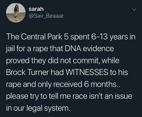 Dank, Jail, and Brock: sarah  @Sair_Beaaar  The Central Park 5 spent 6-13 years in  jail for a rape that DNA evidence  proved they did not commit, while  Brock Turner had WITNESSES to his  rape and only received 6 months...  please try to tell me race isn't an issue  in our legal system.