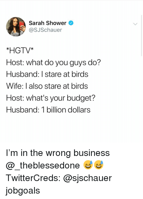 Funny, Shower, and Birds: Sarah Shower  @SJSchauer  *HGTV*  Host: what do you guys do?  Husband: I stare at birds  Wife: I also stare at birds  Host: what's your budget?  Husband: 1 billion dollars I'm in the wrong business @_theblessedone 😅😅 TwitterCreds: @sjschauer jobgoals