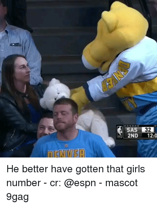 9gag, Espn, and Girls: SAS 32  2ND 12:0 He better have gotten that girls number - cr: @espn - mascot 9gag