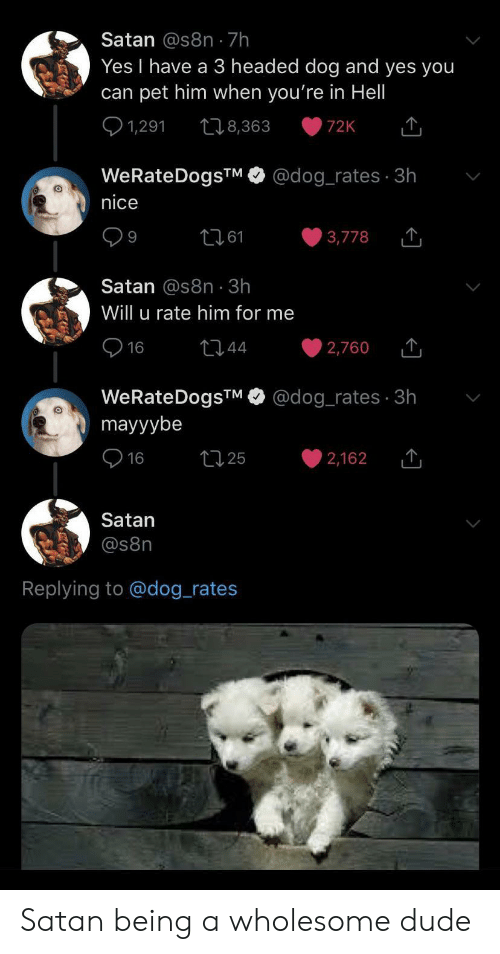 A 3: Satan @s8n 7h  Yes I have a 3 headed dog and yes you  can pet him when you're in Hell  1,291  t8,363  72K  @dog_rates 3h  WeRateDogsTM  nice  t161  3,778  9  Satan @s8n 3h  Will u rate him for me  16  t44  2,760  @dog_rates 3h  WeRateDogsTM  mayyybe  t25  16  2,162  Satan  @s8n  Replying to @dog_rates Satan being a wholesome dude