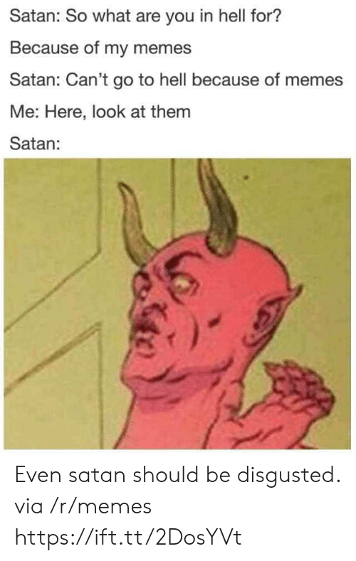 Memes, Hell, and Satan: Satan: So what are you in hell for?  Because of my memes  Satan: Can't go to hell because of memes  Me: Here, look at them  Satan: Even satan should be disgusted. via /r/memes https://ift.tt/2DosYVt
