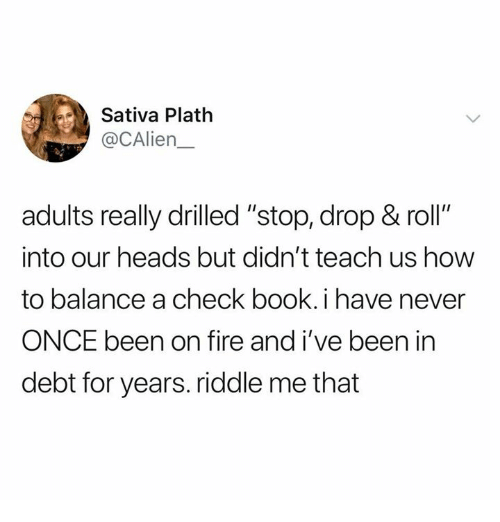"""Fire, Book, and How To: Sativa Plath  @CAlien  adults really drilled """"stop, drop & roll""""  into our heads but didn't teach us how  to balance a check book. i have never  ONCE been on fire and i've been in  debt for years. riddle me that"""