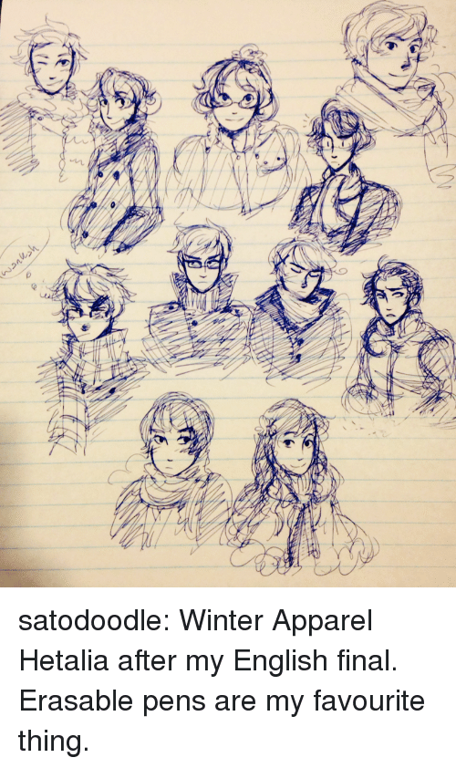 Target, Tumblr, and Winter: satodoodle:  Winter Apparel Hetalia after my English final. Erasable pens are my favourite thing.